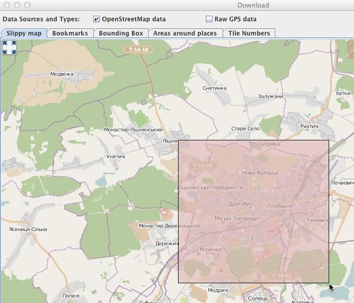 Screenshot of the Slippy map tab