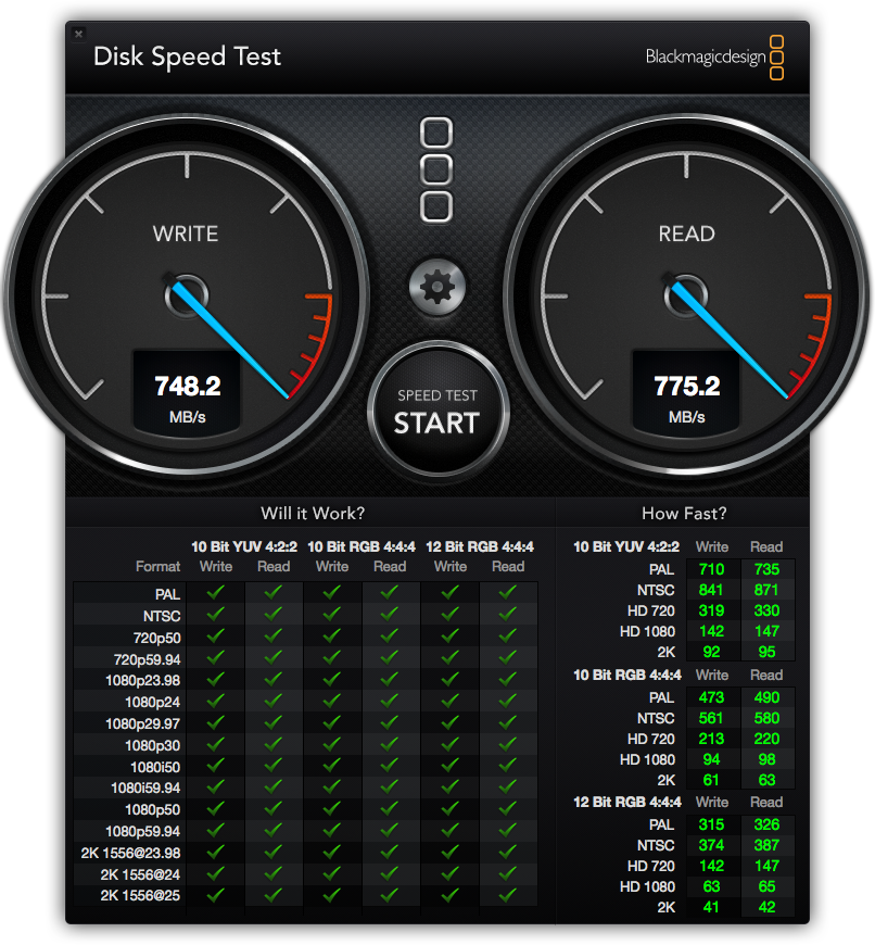 BlackMagic Drive Benchmark Results for Samsung SM951 NVMe drive