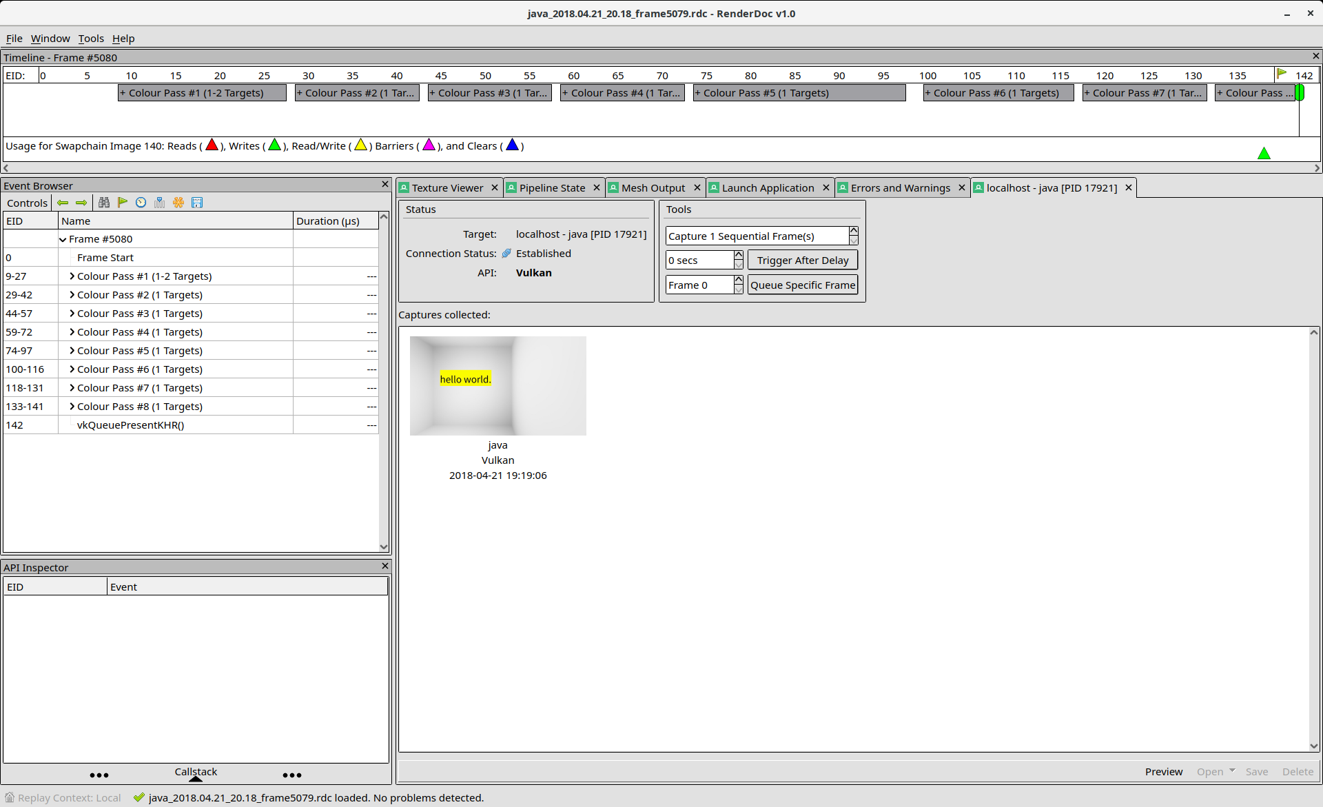 Screenshot of Renderdoc showing a frame capture